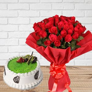 Kiwi Cake And Red Roses Bouquet
